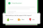 Simplesat screenshot: One-click CSAT surveys can be embedded in helpdesks