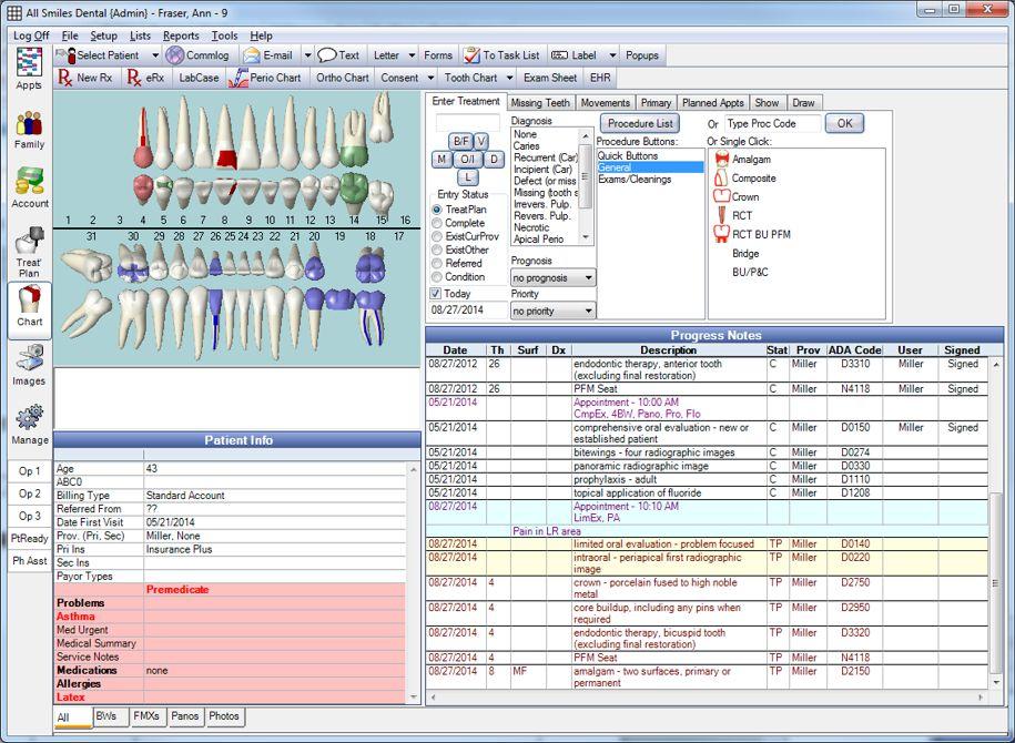 Open Dental Software - Patient chart