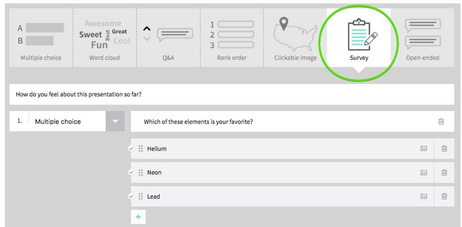 Poll Everywhere create surveys