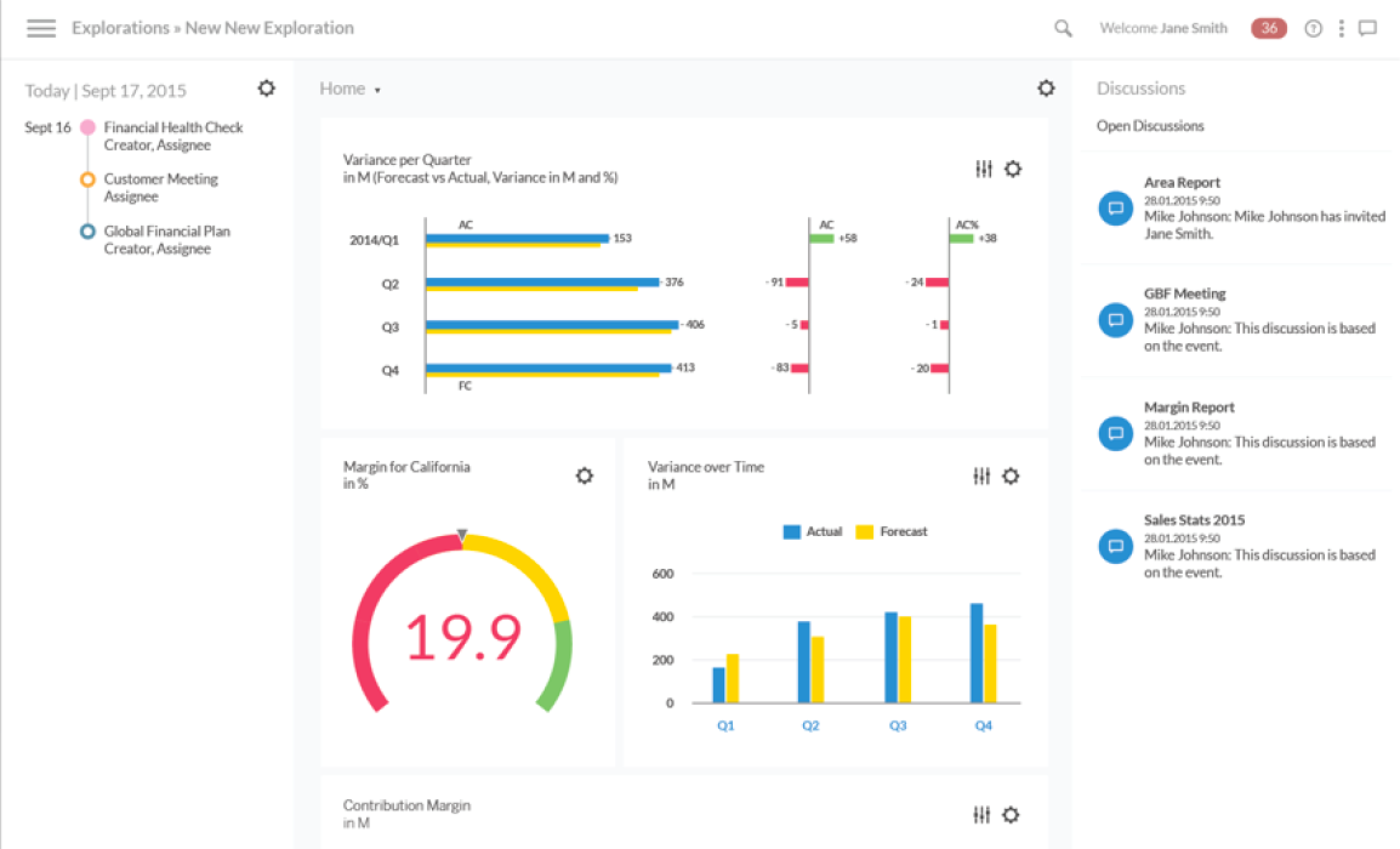 SAP Analytics Cloud showing redesigned UI and discussions