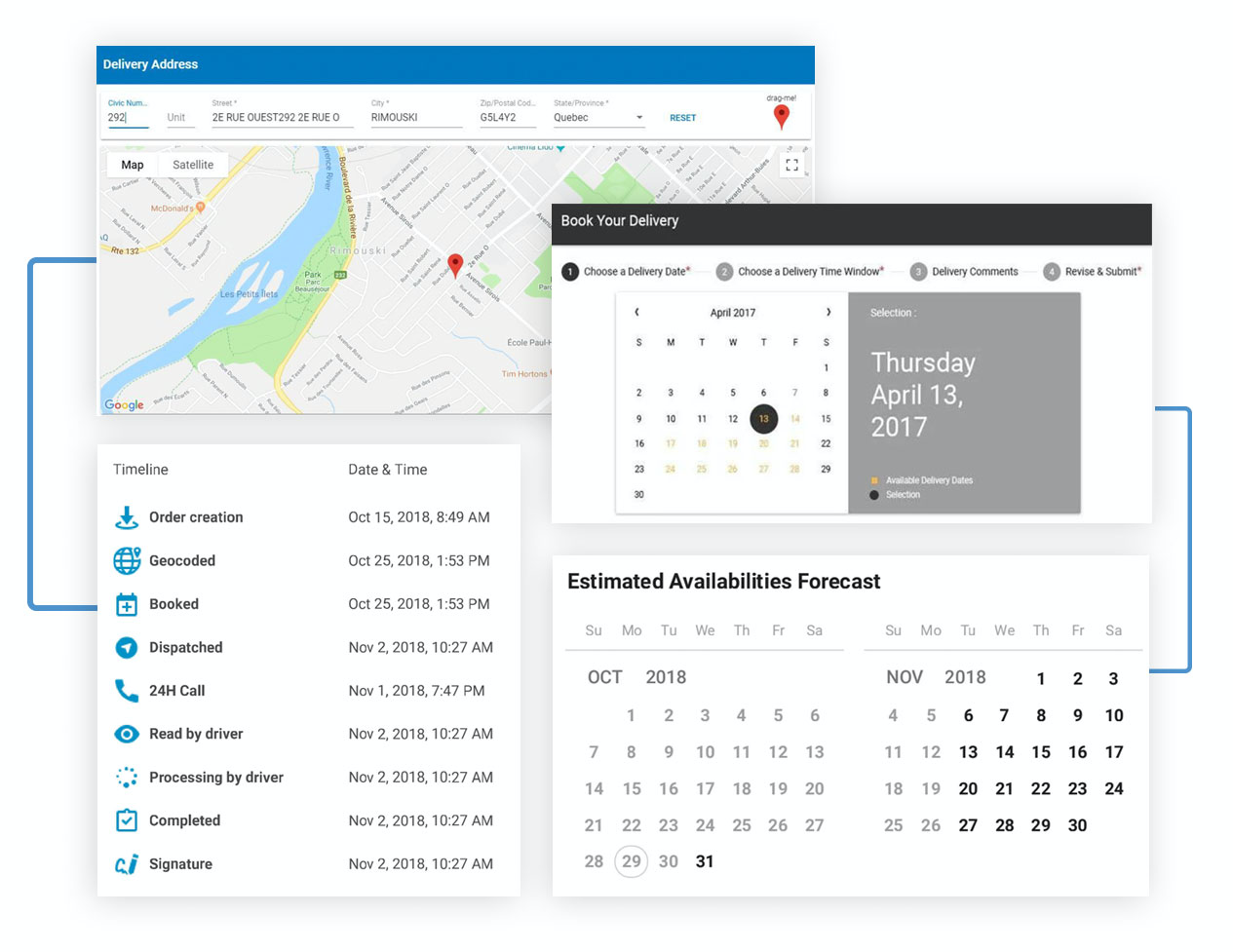 The delivery management and scheduling module can be integrated into eCommerce websites, booking apps and customer portals to allow flexible, personalized online bookings