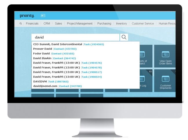 Priority Software Global Search - Available from Every Screen