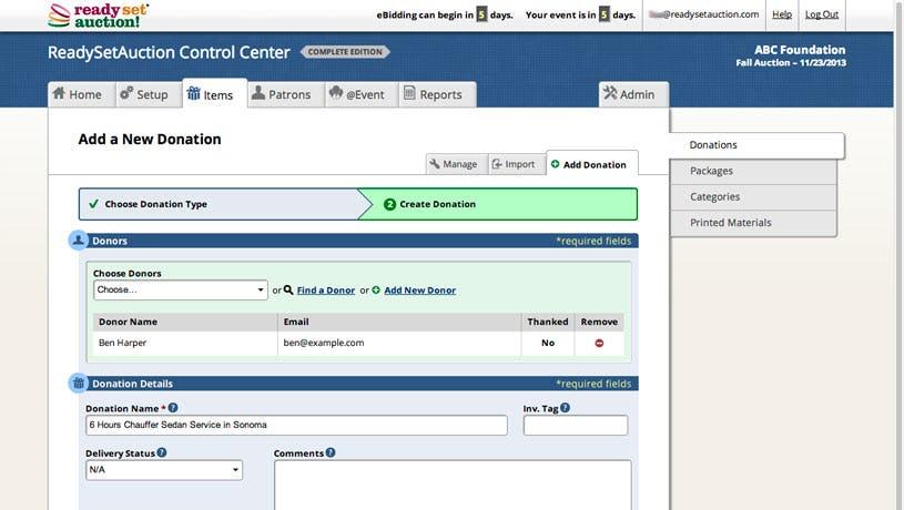 ReadySetAuction Software - New donation