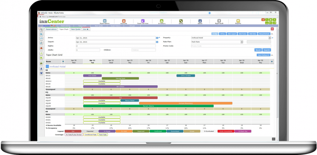 The innCenter dashboard-like hub provides anywhere, anytime secured access to operations across multiple properties