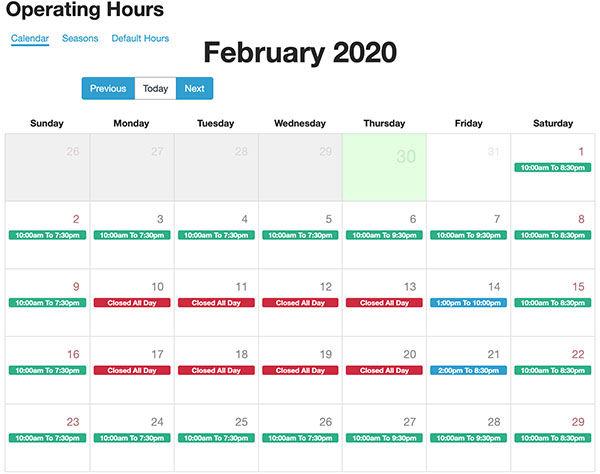 High Trek POS global activity calendar