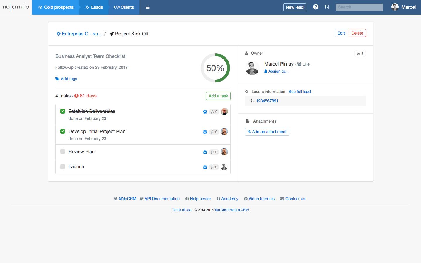 noCRM.io Software - Post-sales process