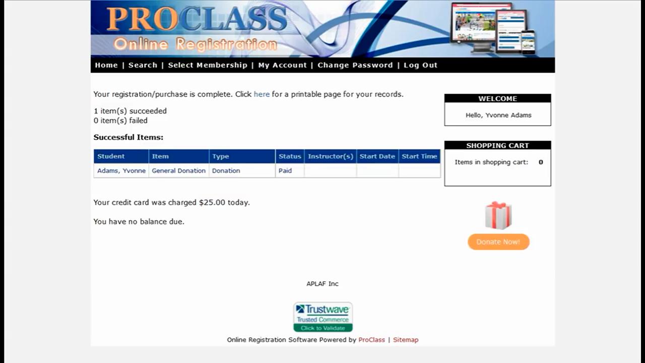 ProClass online registration
