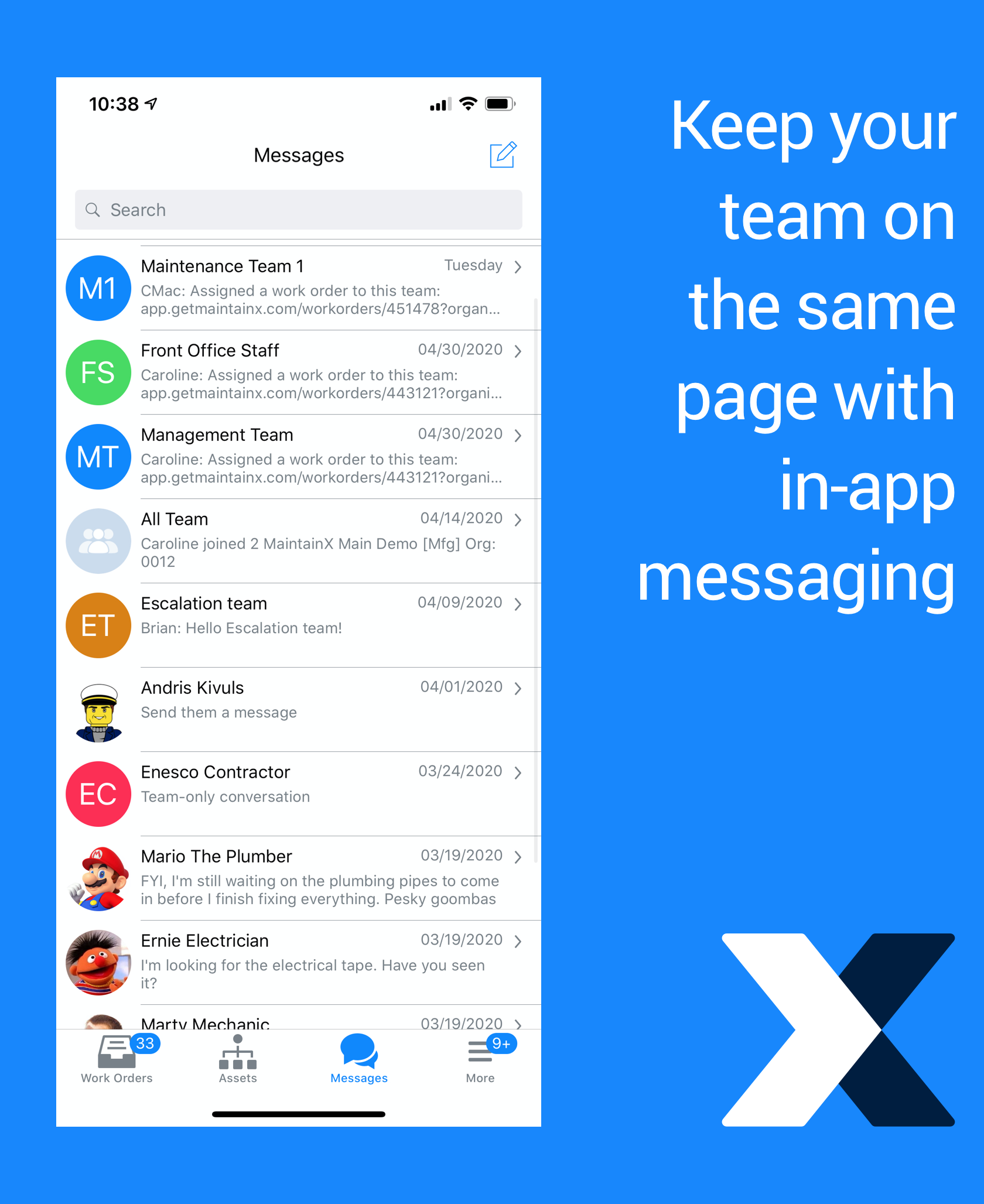 Message your team to keep everyone on the same page