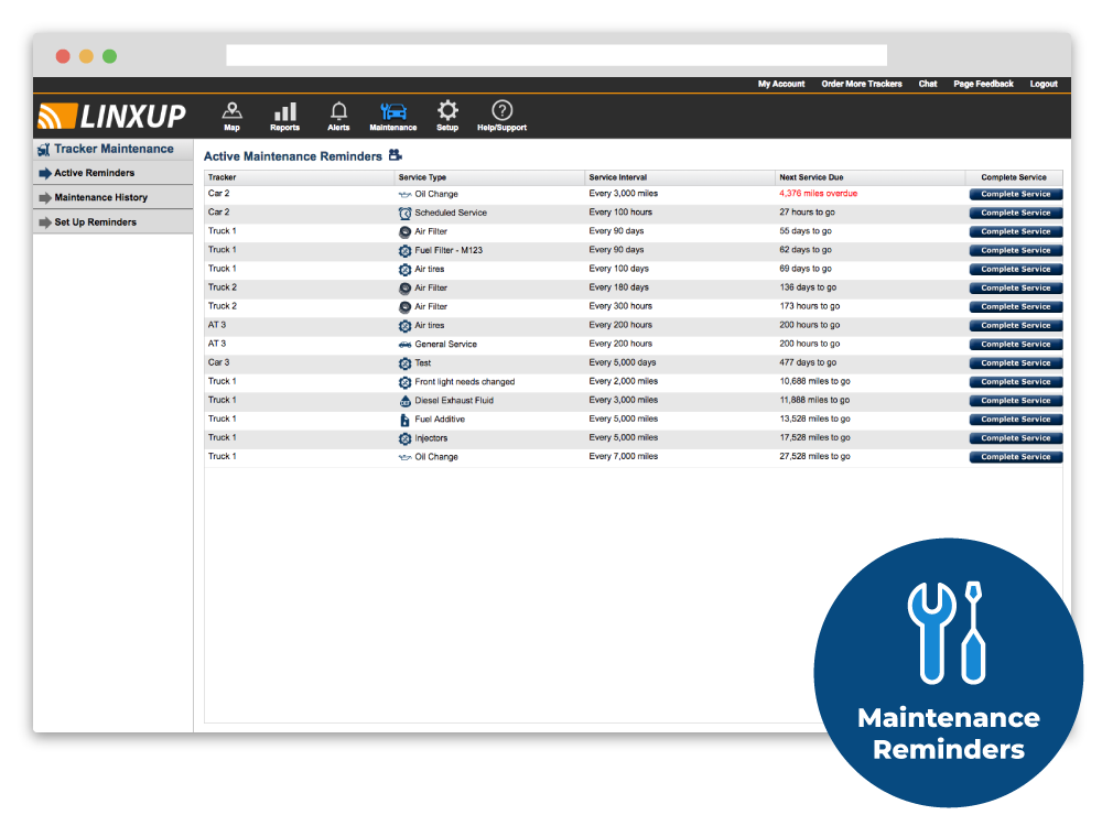 Track maintenance schedules and set up custom alerts with Linxup's built-in maintenance management system