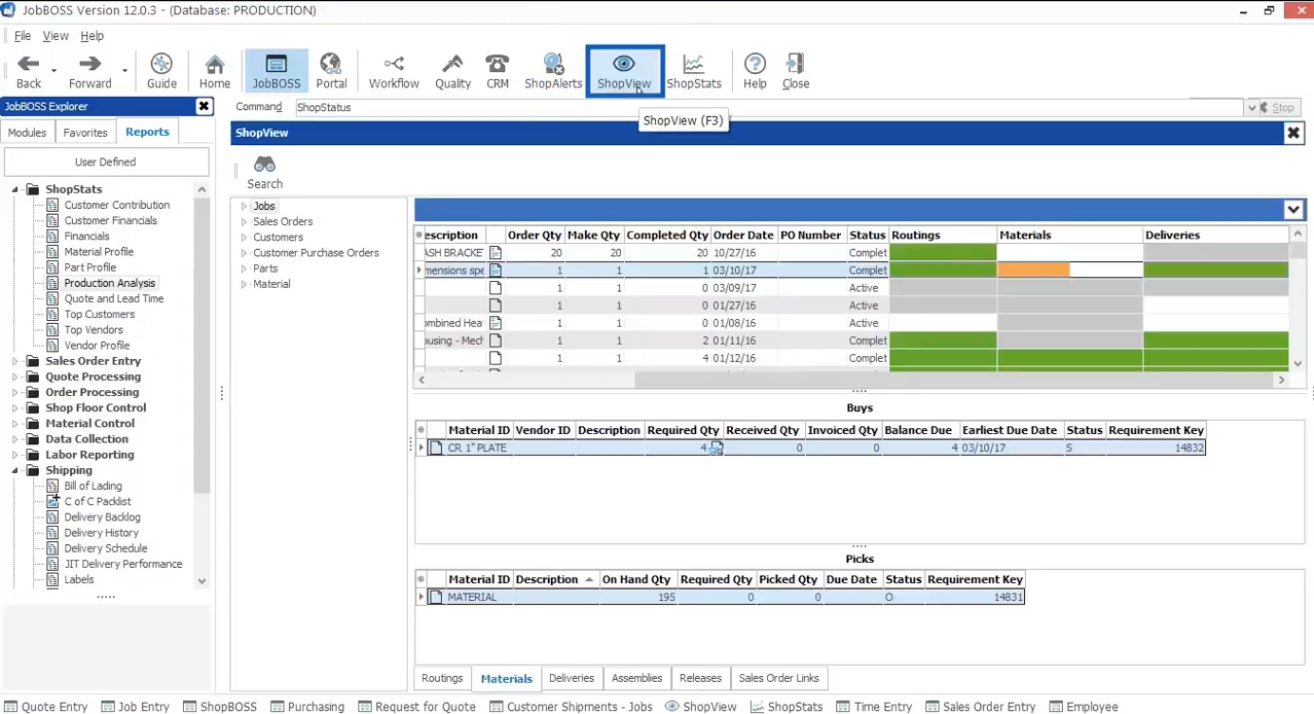 The ShopView tab provides a snapshot of sales orders, jobs and item activities