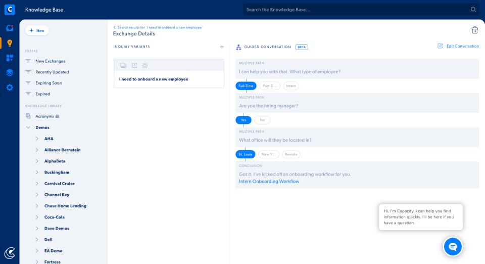 Capacity Software - Capacity's chatbot workflow process