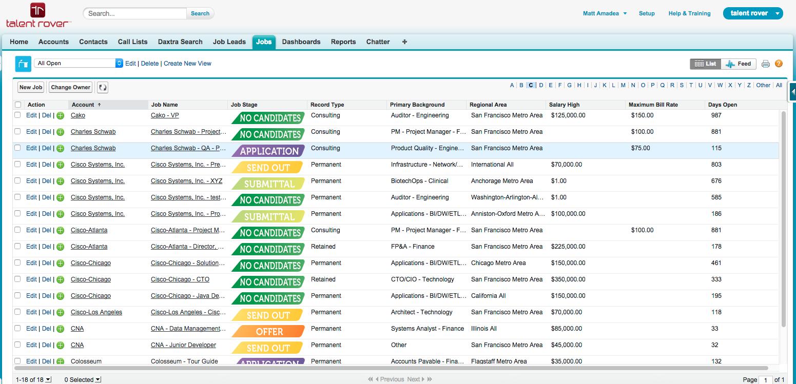 Job lists include customized fields