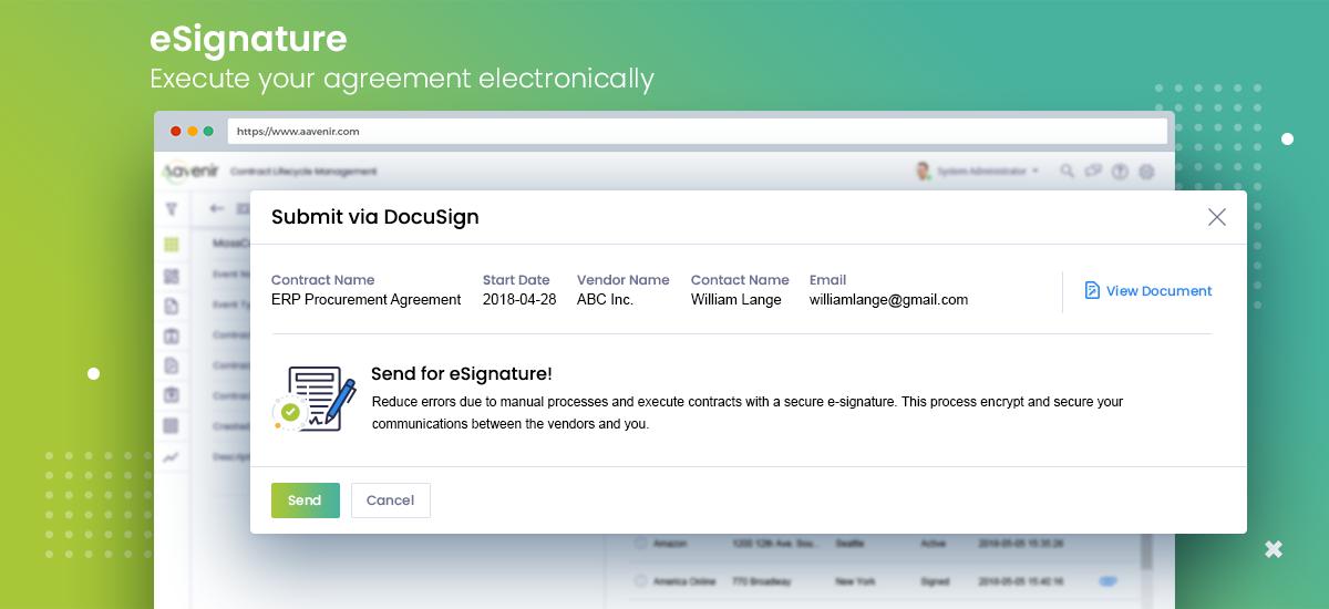 Aavenir Contractlflow Software - Aavenir Contractflow - Contract Management Software with e-Signature