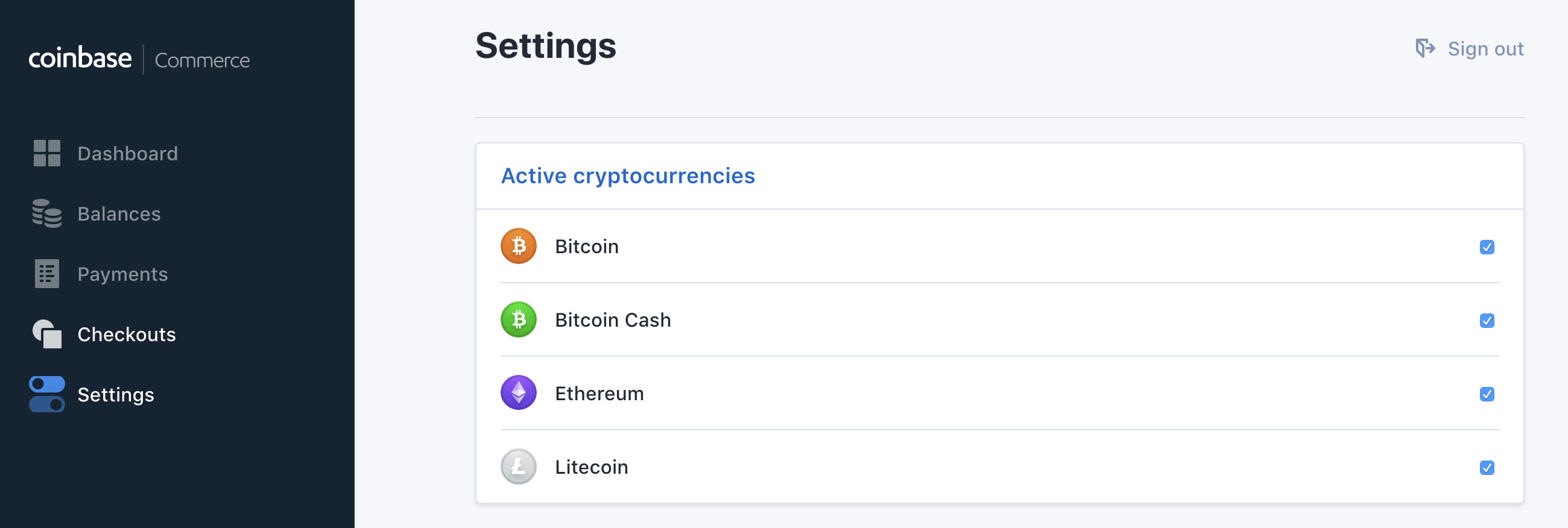 Coinbase Commerce active cryptocurrencies