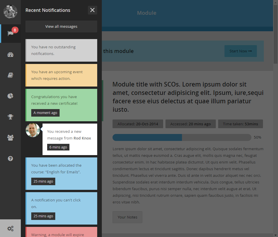 Enable LMS screenshot: Users can review updates, notifications and messages in Enable LMS