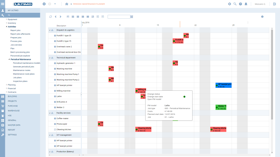 Maintenance management module that tracks assets, stock control, and more