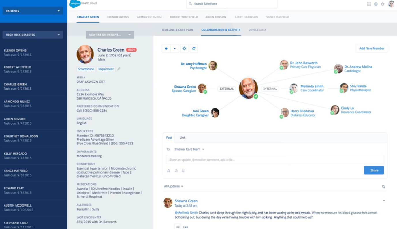 Health Cloud Software - Salesforce Health Cloud collaboration and activity screenshot