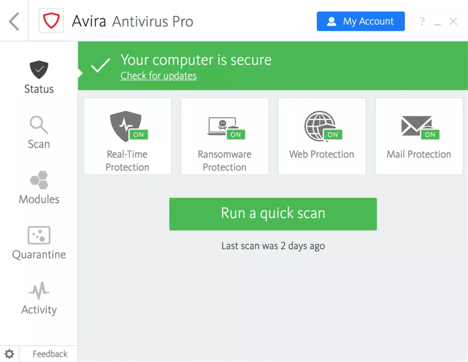 Avira Antivirus Pro security checks