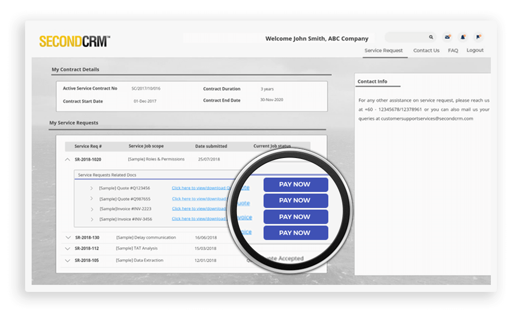 Allow customers to make payments online via an integrated payment gateway. Payment updates are captured back into CRM for easy reference and it also updates quote/invoice payment status based on the transaction.