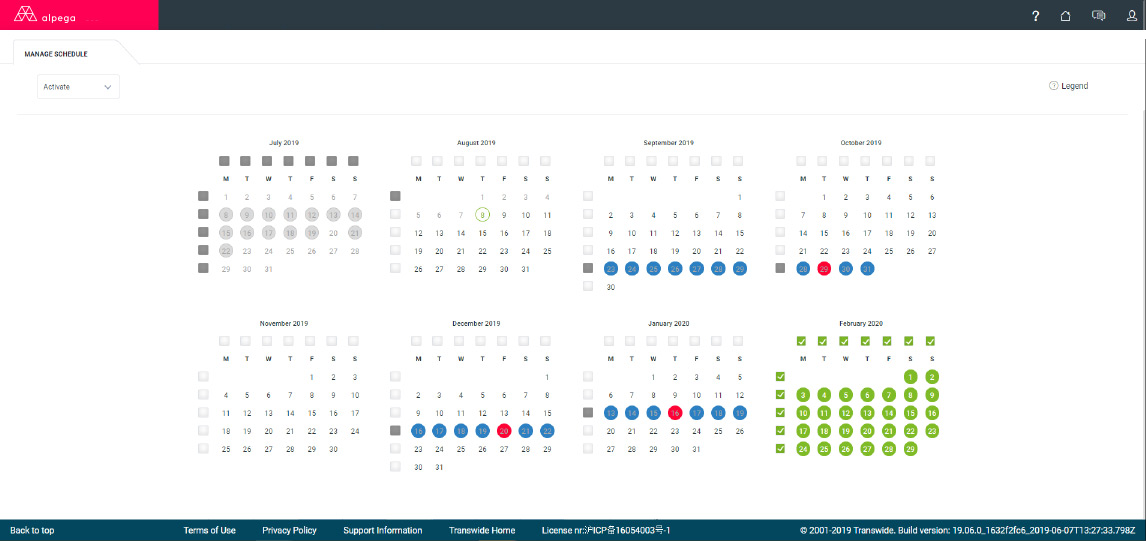 Dock Appointment Scheduling: Overview of locations and scheduled activities. View current, past and future months across a single location.