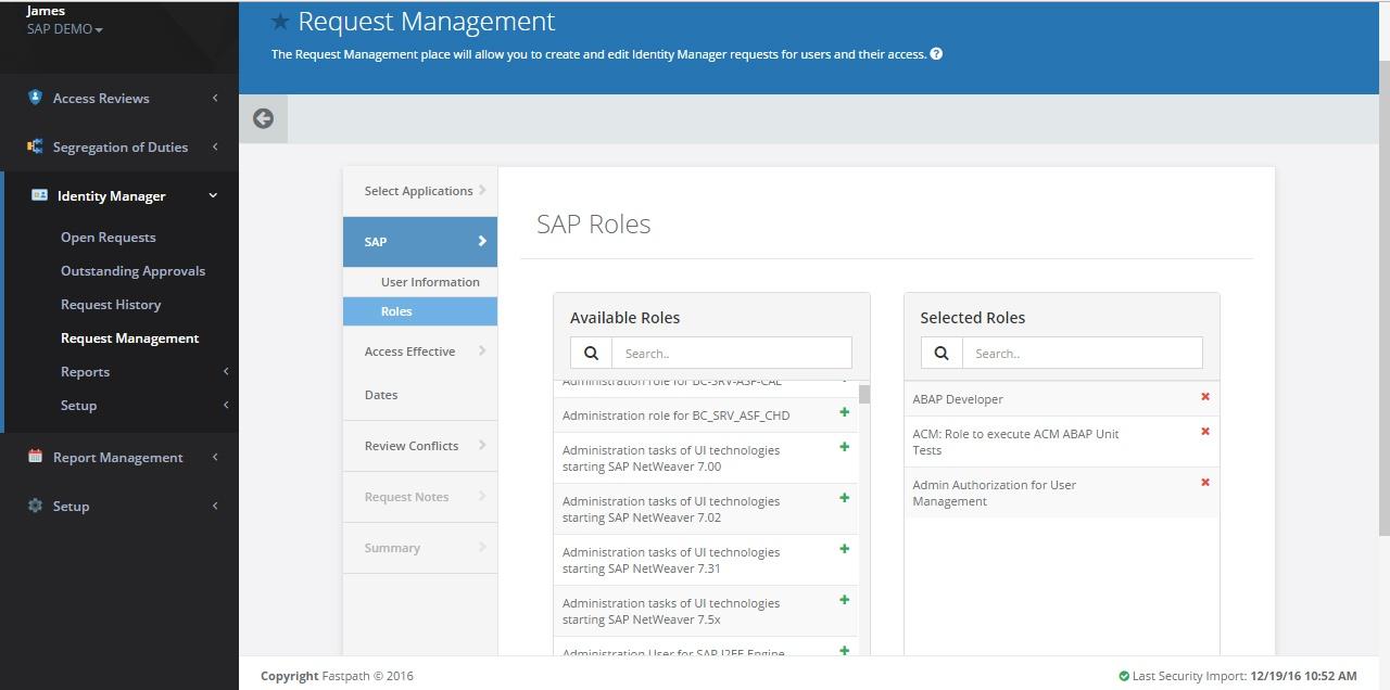 SAP roles