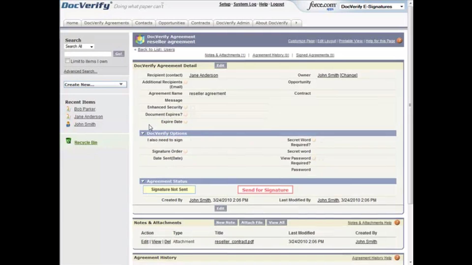 DocVerify agreement detail