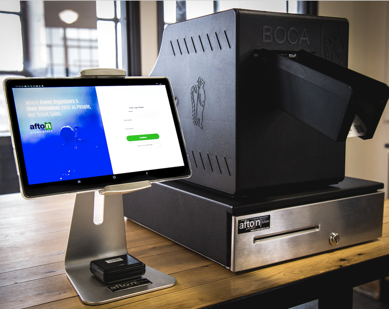 Afton Tickets Full Box Office: Touch screen POS, full cash management suite, smart-locking cash drawer, and ticket printer.