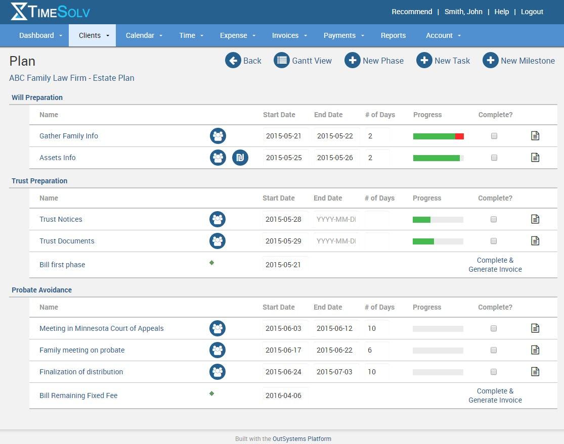 TimeSolv Legal Billing Software - TimeSolv matter plan screenshot