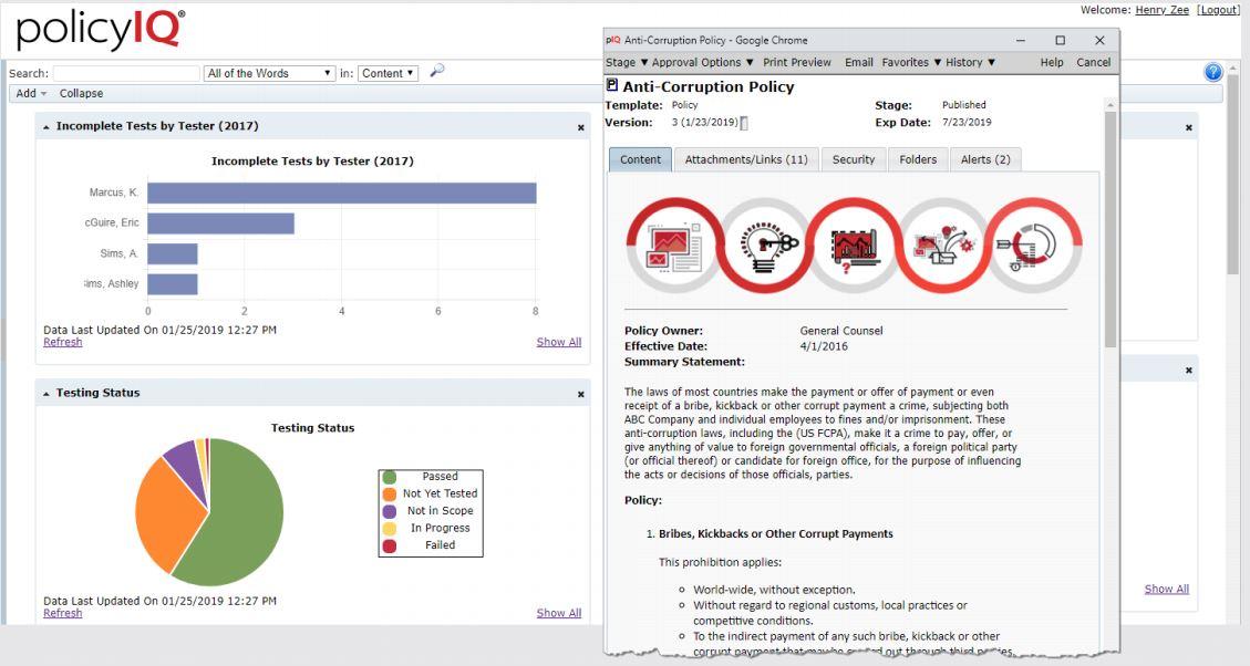 policyIQ search functionality screenshot