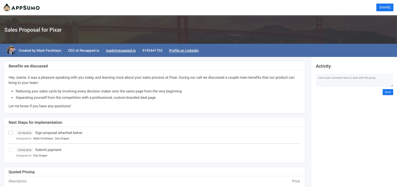 Recapped.io: conversation recap screenshot