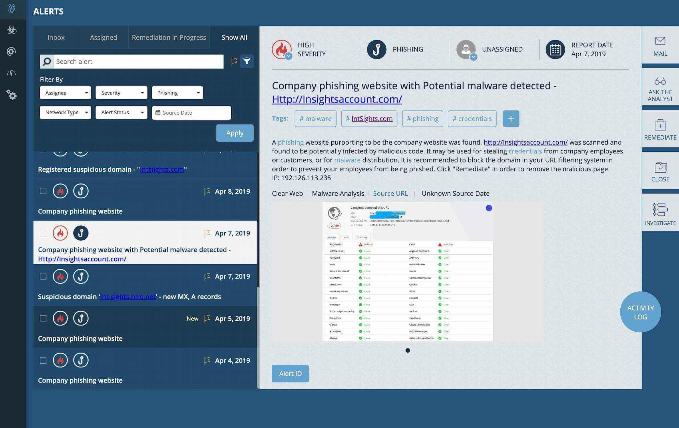 IntSights screenshot: IntSights alerts