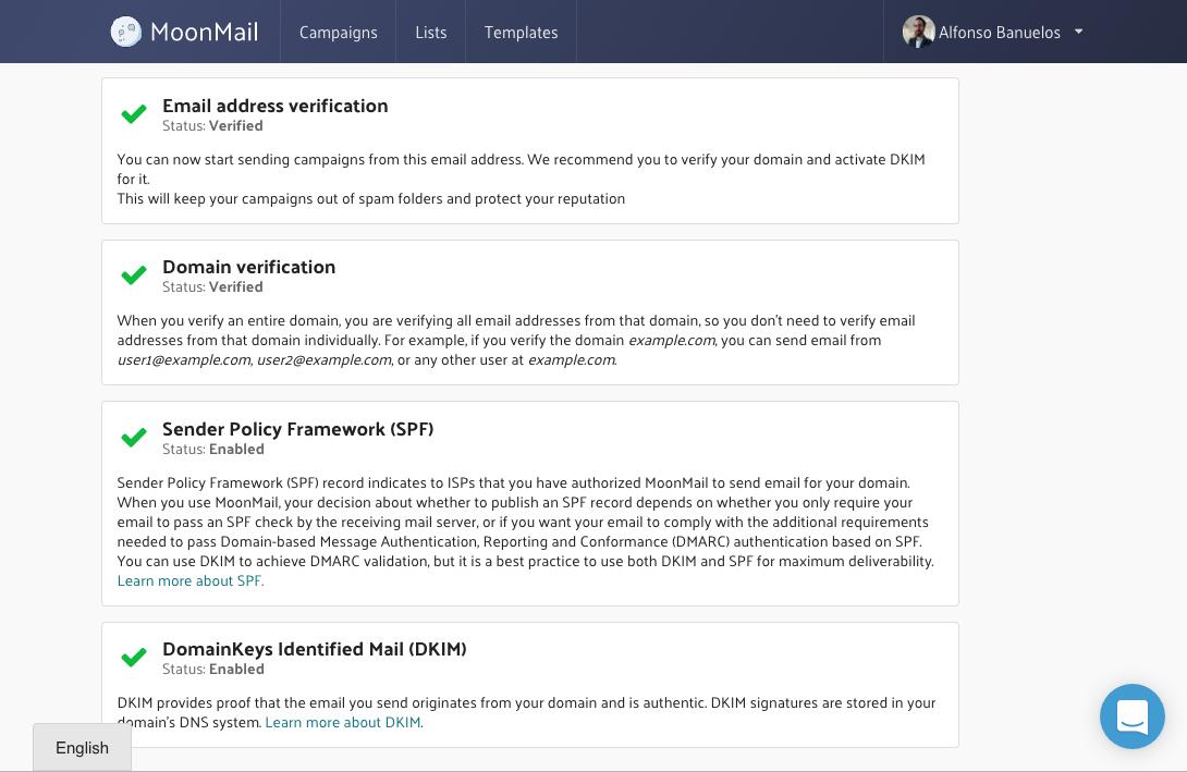 Domain verification, SPF and DKIM setup