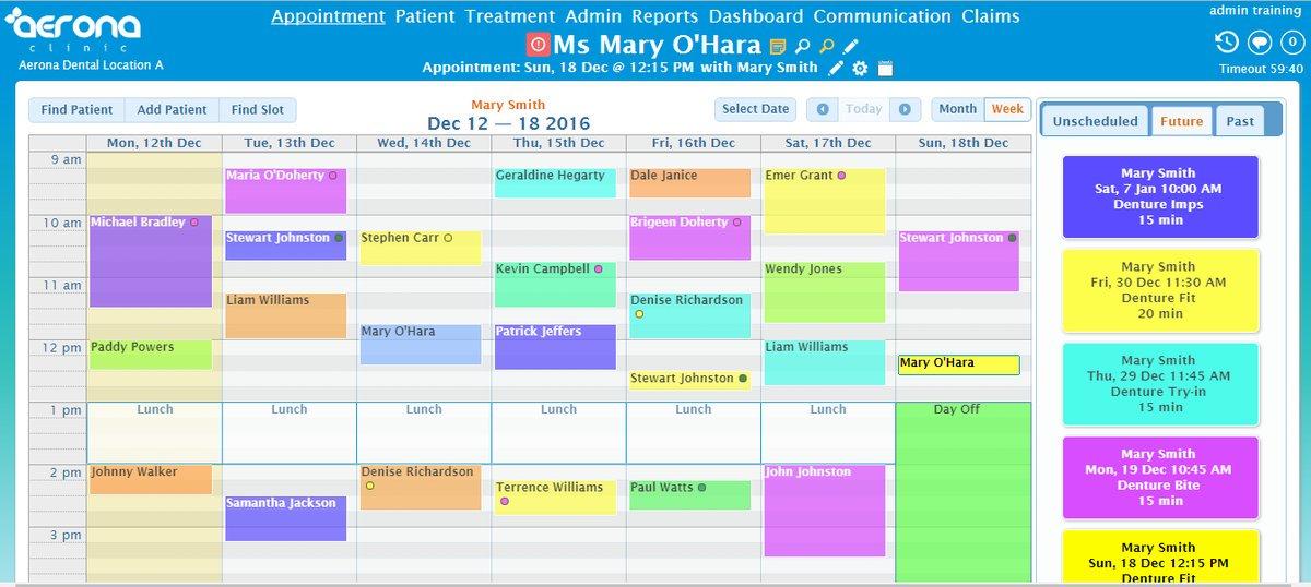 AeronaDental appointment scheduling screenshot