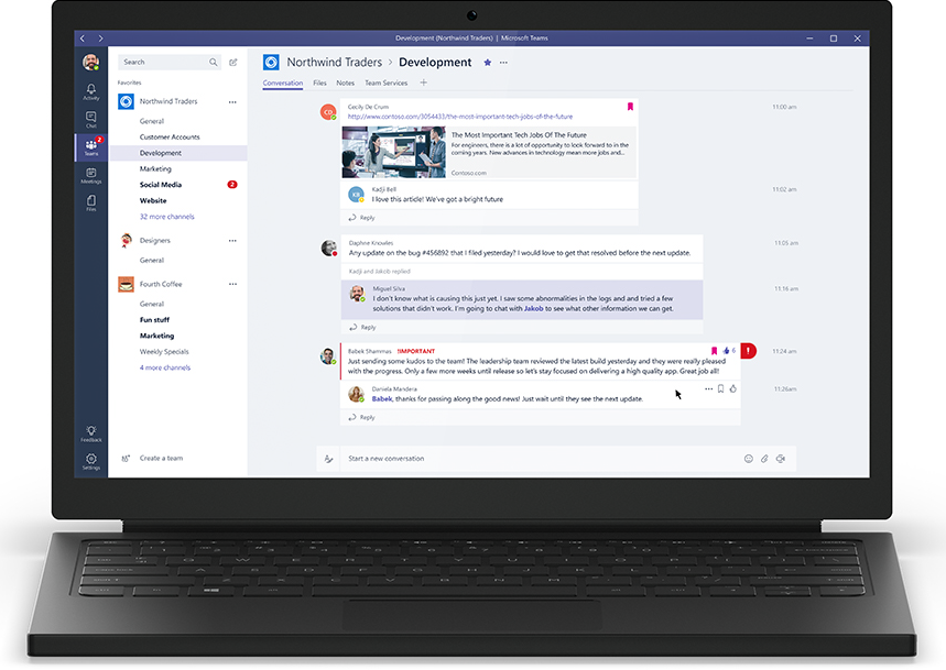 Microsoft Teams screenshot: Conversations can be carried out to collaborate, with message flagging, replies, and @mentions