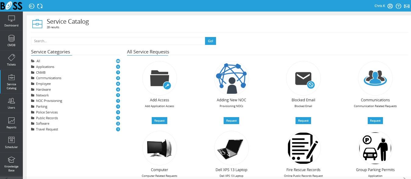 BOSSDesk  Service Catalog