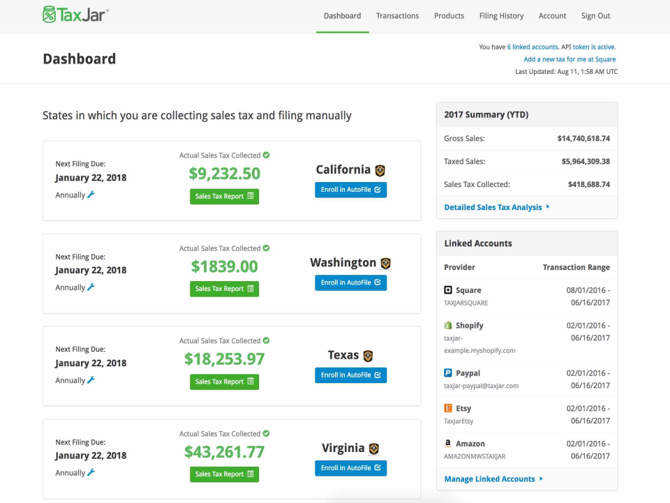 TaxJar screenshot: The TaxJar dashboard keeps users up-to-date on when their tax filings are due
