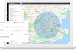 Vincere screenshot: Geo-search on a unique map view