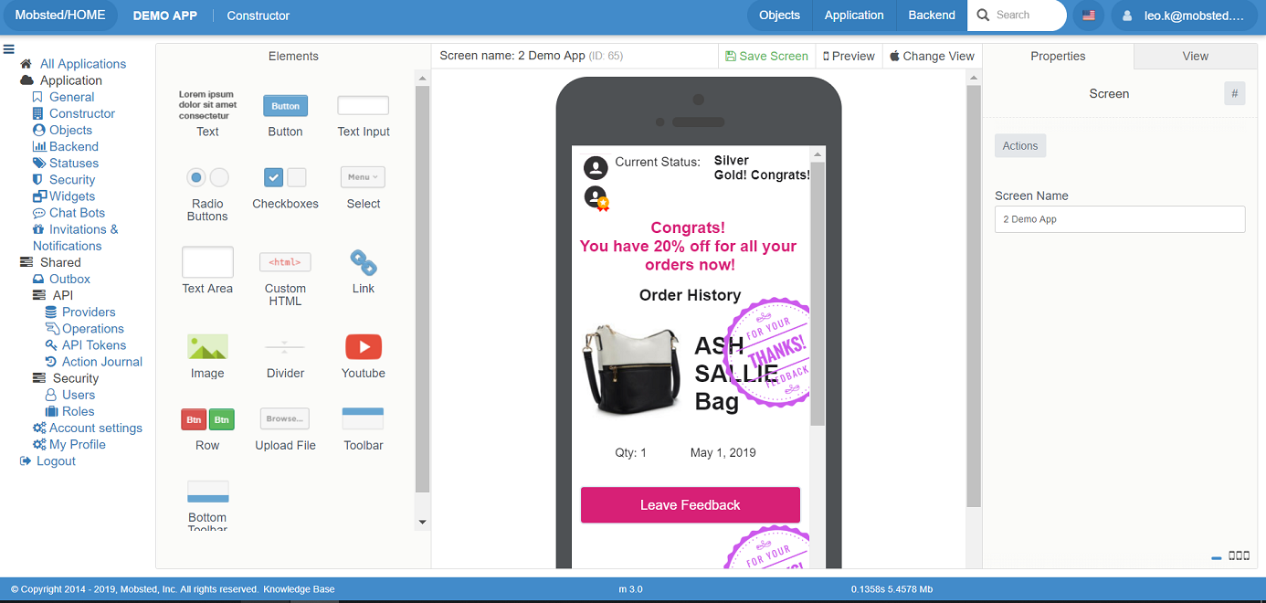 Mobsted demo app view