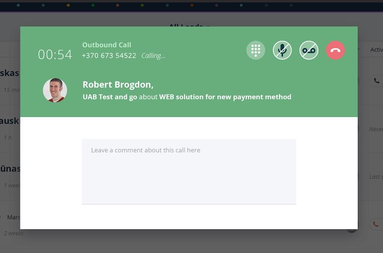 Teamgate screenshot: Calling smart dialer recording
