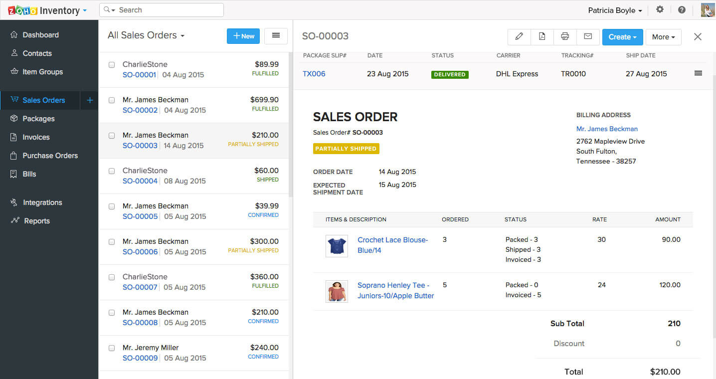 View all sales orders and their respective statuses in Zoho Inventory