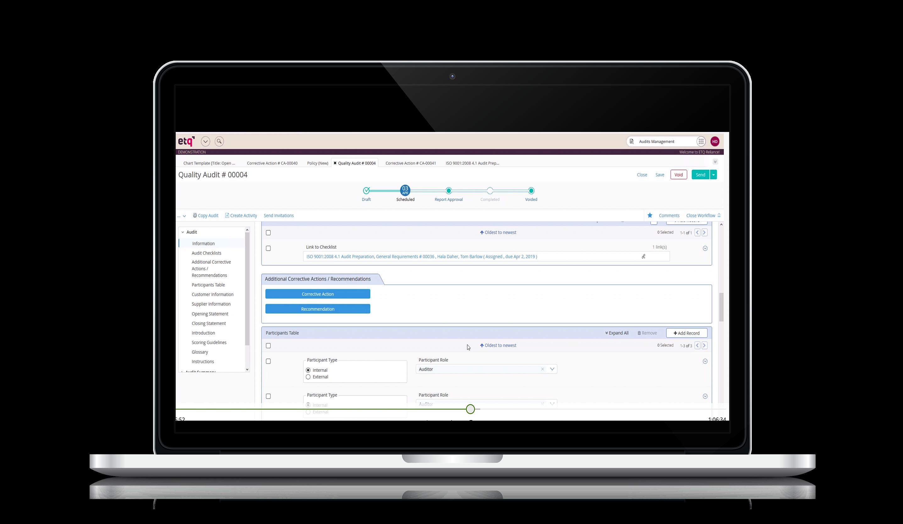 ETQ Reliance screenshot: Audit QMS Compliance