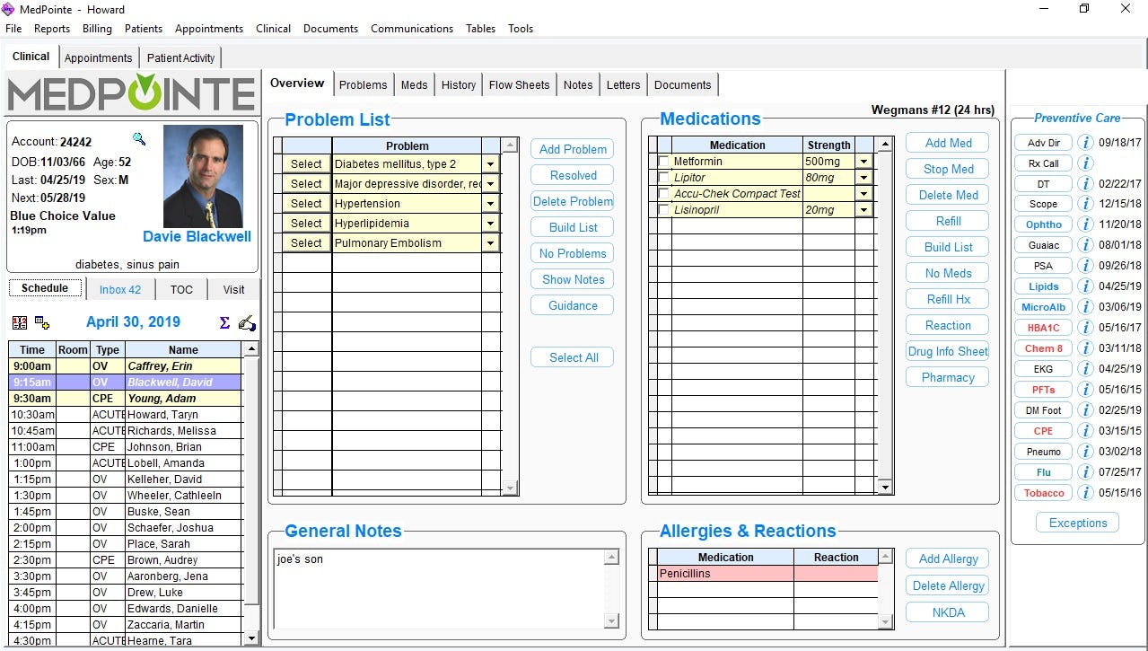 MedPointe Software - Clinical dashboard