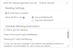 Captura de pantalla de Amazon Chime: Personalized URLs can be used when setting up meetings