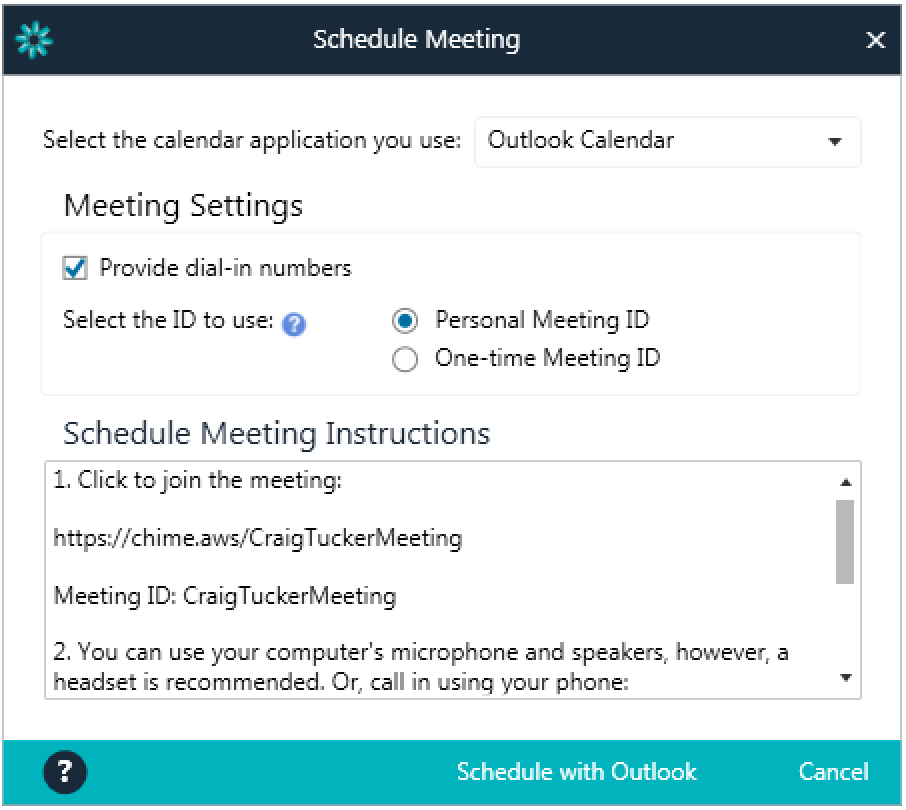 Personalized URLs can be used when setting up meetings