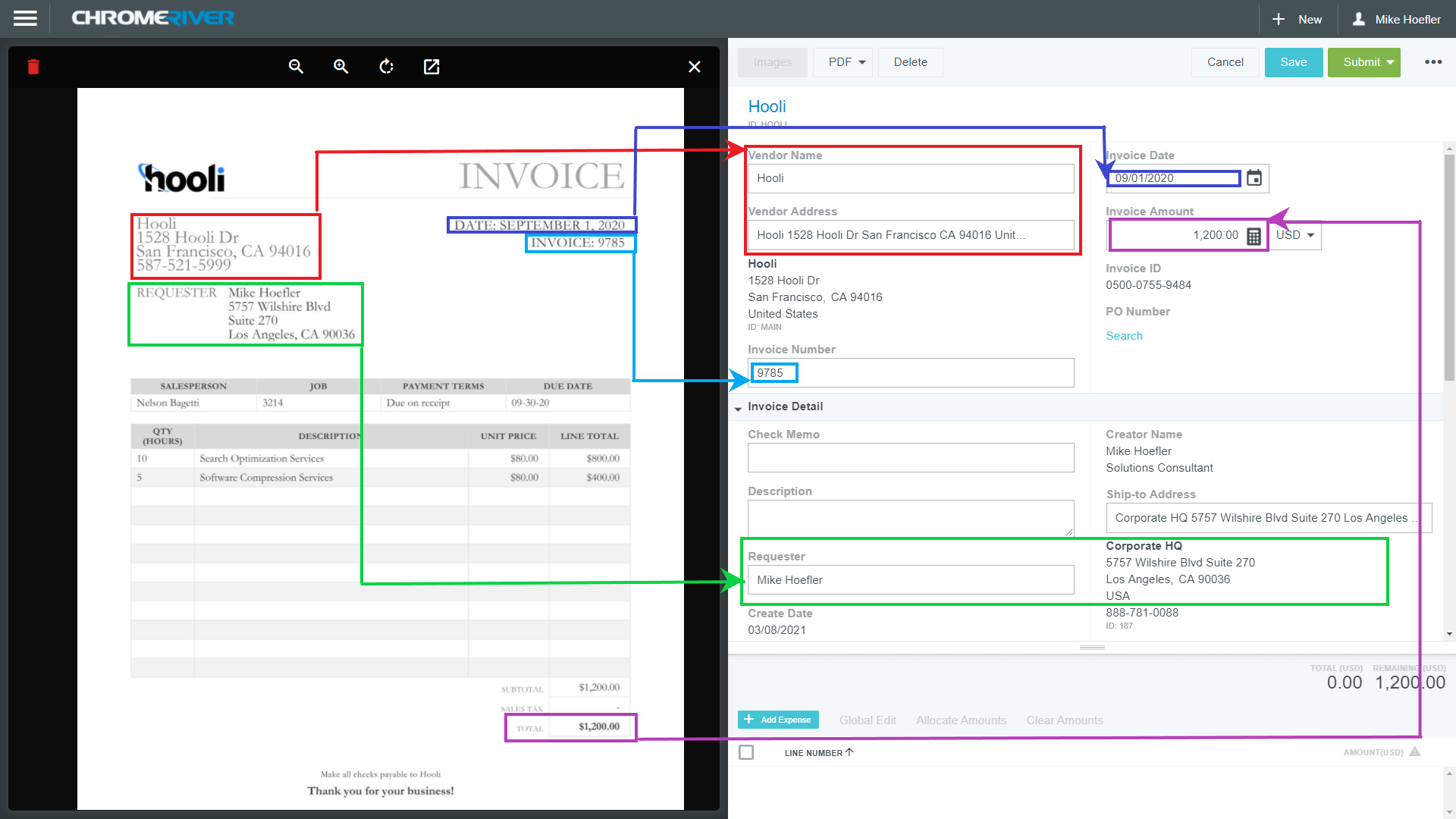 Automatically parse data from invoices