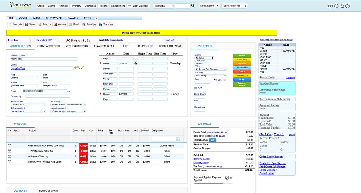 IntelliEvent Lightning job order management