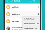 pCloud Business screenshot: Upload links, download links, and folder invites allow users to collaborate