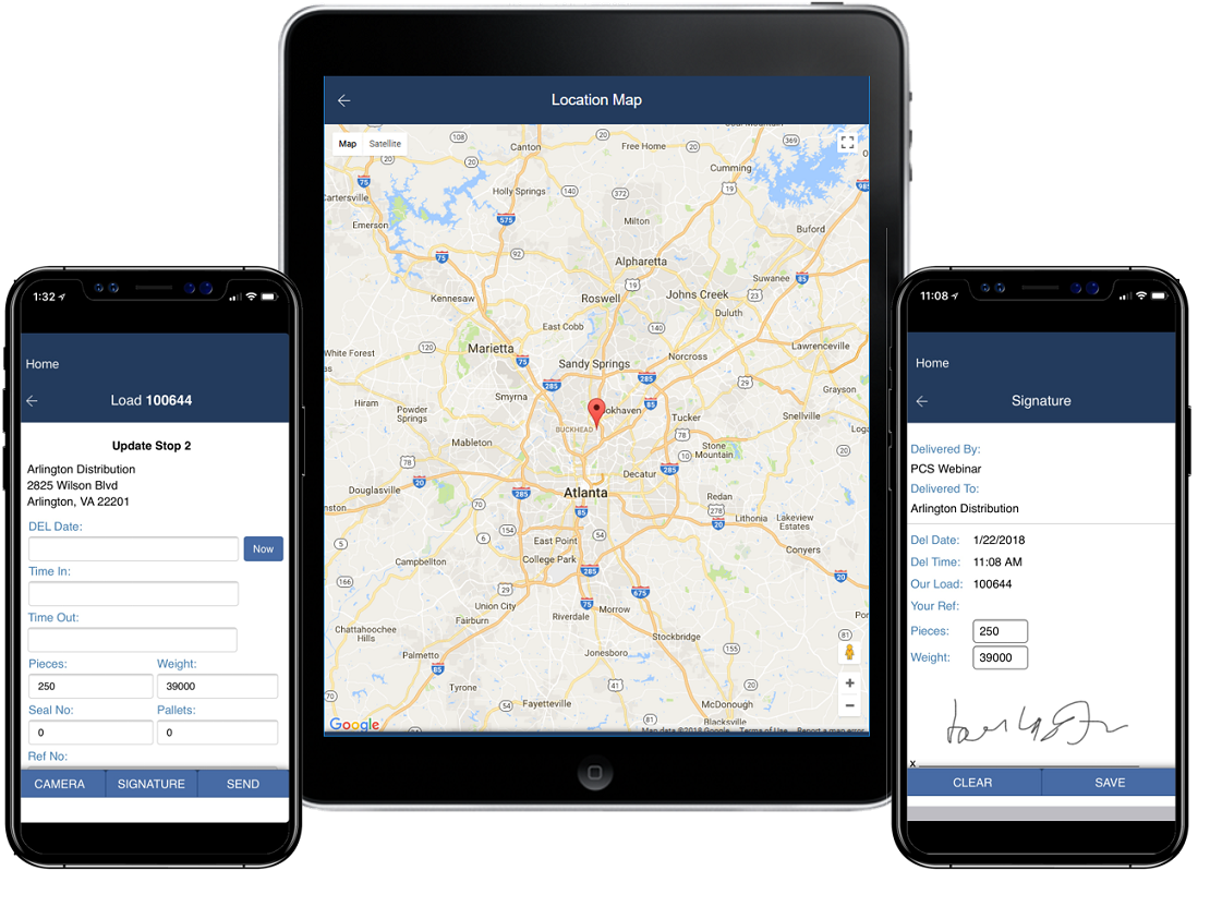 PCS TMS screenshot: GPS tracking
