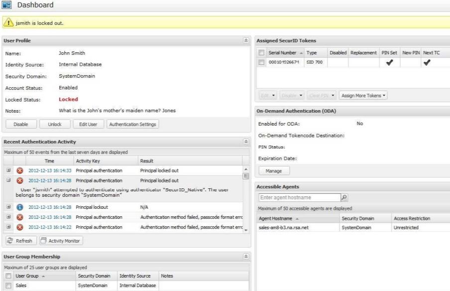 RSA SecurID screenshot: RSA SecurID Suite Management Dashboard