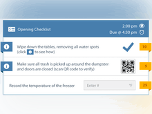 Jolt Software - Customizable Tasks & Checklists allow you to choose the way your employees complete routine lists. Input options include simple checkmarks, scanning a QR code to verify a physical location, taking a picture to ensure quality, and 15 other input options.